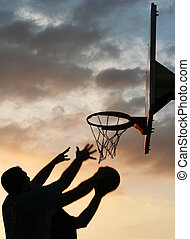 basquetebol, jogadores, ação