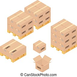 Cardboard boxes in warehouse Storage, delivery and logistics...