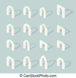 Stone architectural isometric 3d arch icons set vector -...
