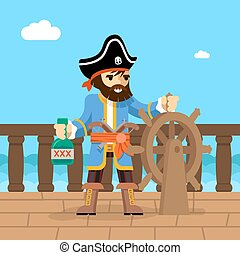 Pirate. Filibuster captain at helm of ship - Filibuster....