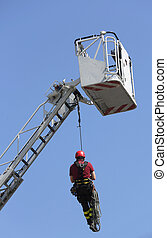 firefighter hung the rope climbing - climber firefighters...