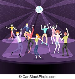 People dancing in nightclub Dance floor flat style design -...