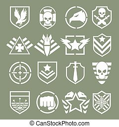 Military logos of special forces set. Army shield, wing and...