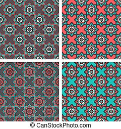 Abstract Patterns with Ethnic Ornament - Vector Abstract...