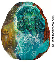 Beautiful fantasy emerald green fairy portrait, colorful...