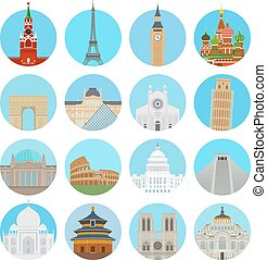 World landmarks icons