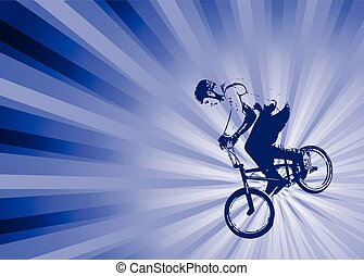 bmx cyclist on the abstract background - vector