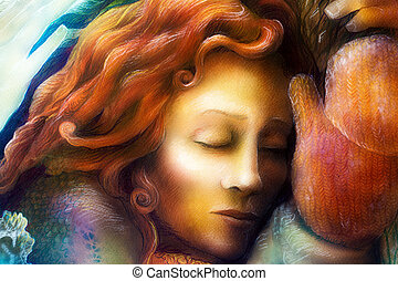 A head of a dreaming fairy woman with red hair and winter glowes, fantasy colorful painting