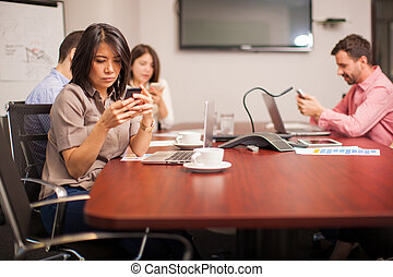 Social networking at work - Group of people in a conference...