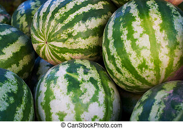 Watermelons in market place - Watermelons at market place