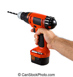 Hand holding cordless drill