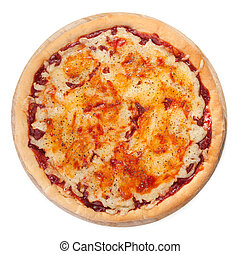Pizza on white top view