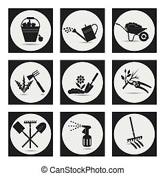Gardening Icons on the theme of organic farming Symbols...