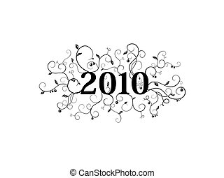 2010 isolated floral ornament