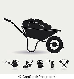 Organic farming - Garden wheelbarrow with soil Icons on the...