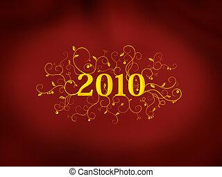 2010 floral design on red background