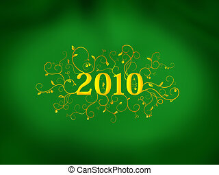 2010 floral ornament on green background