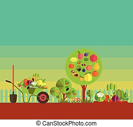 kitchen garden - Gardening. Organic cultivation of fruit and...