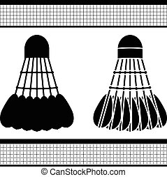 badminton shuttlecock silhouette and stencil vector...