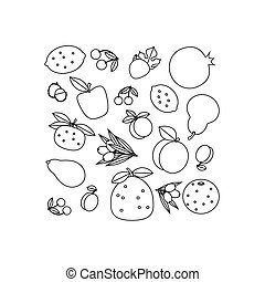 composition of fruits - Contour black and white composition...