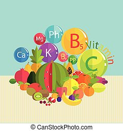 vitamins - Stylized composition - fresh fruit and vitamins...