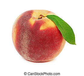 One whole ripe peach with green leaf (isolated)