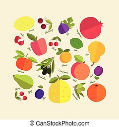 color fruit - Placer brightly color fruit growing on the...