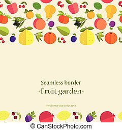 fruit seamless pattern - Seamless border of colorful fruits...