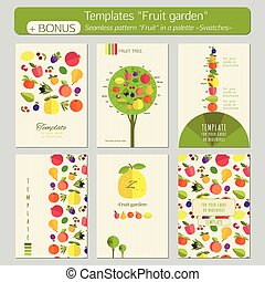 Fruit garden - A set of templates for postcards, covers,...