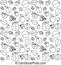seamless pattern of fruit - Contour black and white seamless...