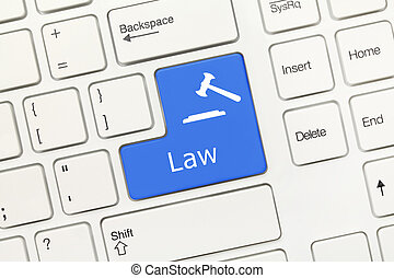 White conceptual keyboard - Law (blue key with gavel symbol)...
