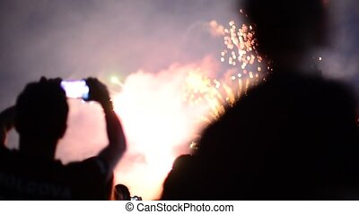 A Group Of People Staying In Front of Fireworks Display and Filming Light Show