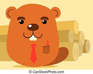 Cute cartoon beaver salesman in simple caricature style...
