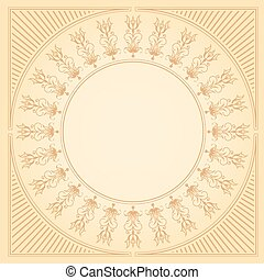 Circular calligraphic border with delicate florals -...