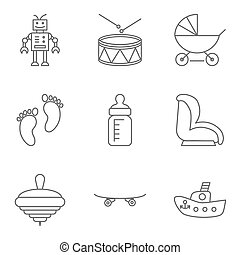 Baby thin line related vector icon setfor web and mobile...