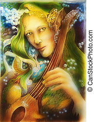 Elven man face with green hair and pearls playing a string instrument, detail.