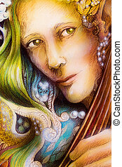 Elven man face with green hair and pearls playing a string instrument, detail