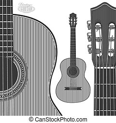 Acoustic Guitar in engraving style - Vector illustration...