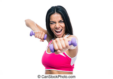 Fitness woman workout with dumbbells - Angry fitness woman...