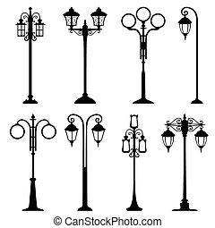 City street lanterns set, isolated illustration, different...