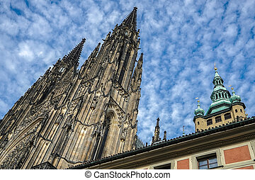 Spires of St Vitus Cathedral in Prague
