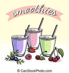 Smoothies - Hand drawn smoothies with berries. Vector...
