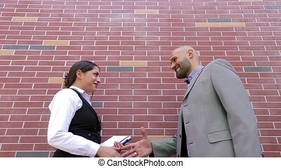 Business Man and Woman Teamwork Talking Concept