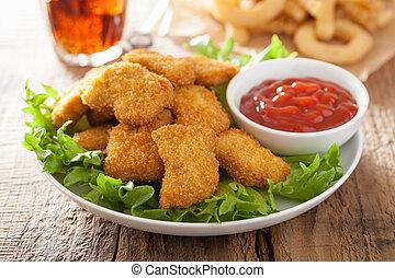 alimento, salsade tomate, francés, fríe, Rápido, pollo,...