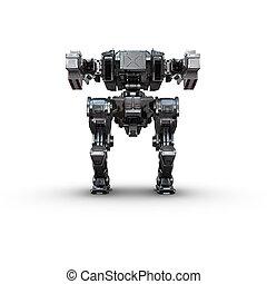 sci fi military metallic robot on white background - high...