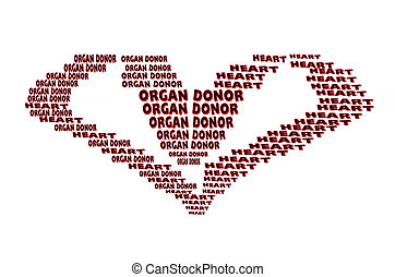 Organ donor, text in heart shape