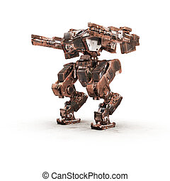 sci fi robot dirt gold on white background - high quality 3d...