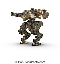 sci fi robot gold on white background - high quality 3d...