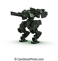 sci fi military camouflage robot on white background - high...