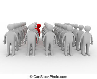 Many people in rows but one is acting differently